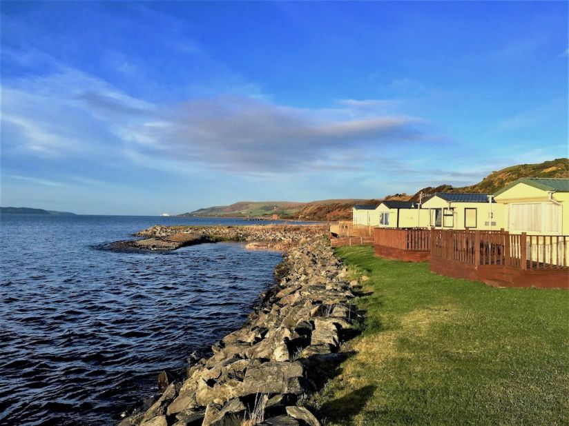 Ryan Bay Caravan Park, Stranraer, Dumfries and Galloway, view of the Coast