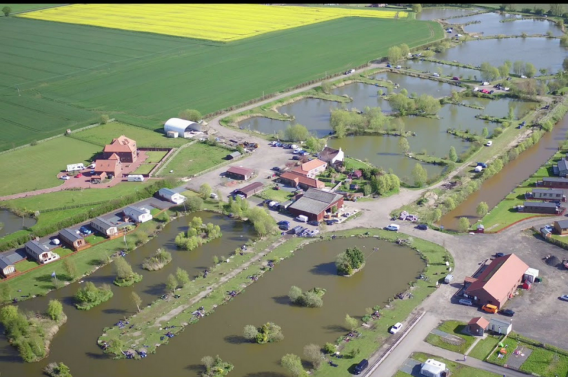 Lindholme Lakes, Epworth aerial view showing lodges
